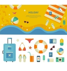 Banner and icons of sea holiday travel concept vector