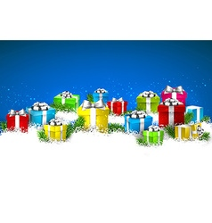 Christmas blue background with gift boxes vector