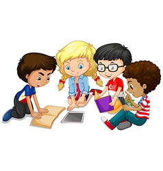 Group of children doing homework vector