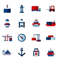 Seaport flat icons set vector