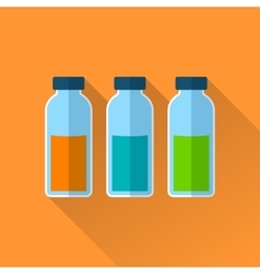 Set of three bottles with reagents vector
