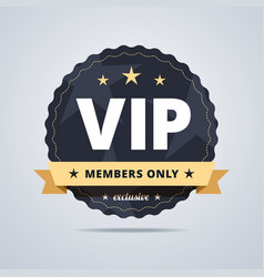 Round badge for vip club members vector