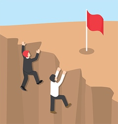 Businessman climb up the cliff vector