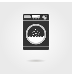 Black washing machine with shadow vector