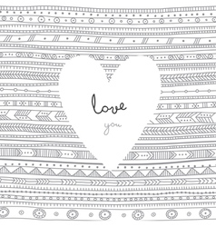 Love you white heart on ethnic background card vector