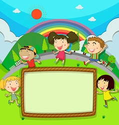 Frame design with children in the park vector image