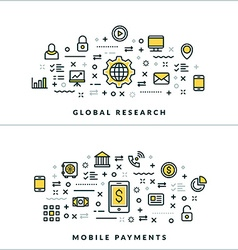 Global research and mobile payments flat thin line vector