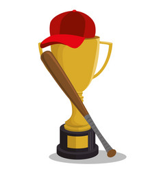 Baseball trophy winner icon vector