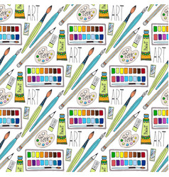 Cartoon doodles hand drawn art supplies seamless vector