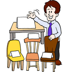 Cartoon of a of a furniture seller vector