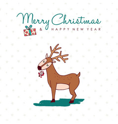 christmas and new year cute hand drawn deer card vector image vector image