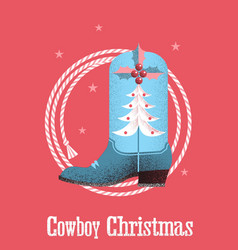 cowboy christmas card background with western vector image vector image