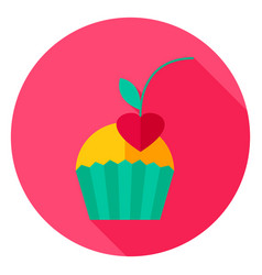 Cupcake with cherry circle icon vector