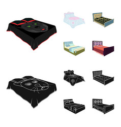 Different beds cartoonblack icons in set vector