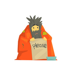 Dirty homeless man character wrapped in a blanket vector