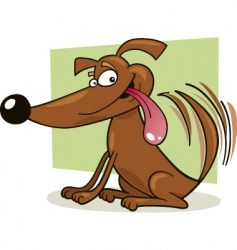 Dog wagging tail vector