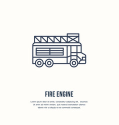 Fire engine flat line sign flame protection thin vector