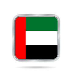 Flag of emirates metallic gray square button vector