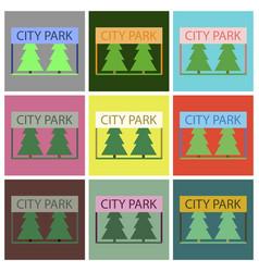 Flat icons set city park vector