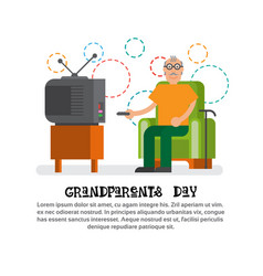 grandfather watching tv happy grandparents day vector image