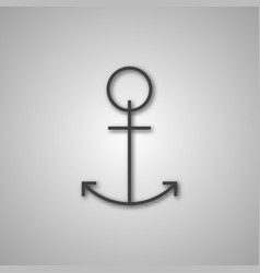 Grey anchor icon vector