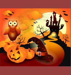 halloween background in orange vector image vector image