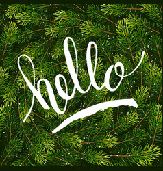 Holiday gift card with hand lettering hello on vector