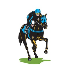 Horse Racing Equestrian Color Woodcut vector image vector image