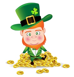 Irish man on gold coin for St Patricks Day card vector image vector image