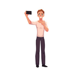 Man making selfie with smartphone mobile phone vector