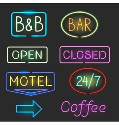 Neon sign icon set with flash light vector image vector image