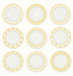 Nine plates with gold pattern vector