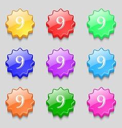Number nine icon sign symbols on nine wavy vector