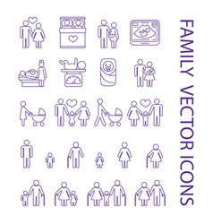 Pregnancy and family thin line icons set vector