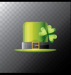 Saint patricks day green glossy hat clover vector