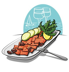 salmon carpaccio with olives and lime vector image