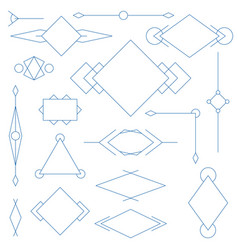 set of blue linear graphic stylized frames vector image vector image