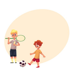 two boys playing badminton and football at the vector image vector image