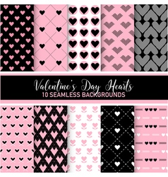 Valentines Day Heart Patterns Set vector image vector image