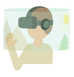 Virtual reality headset icon cartoon style vector