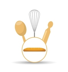Cookware and baguette vector
