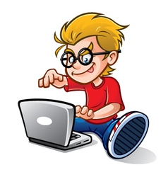 Geeky kid blogging vector