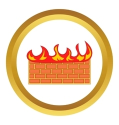 Brick wall on fire icon vector