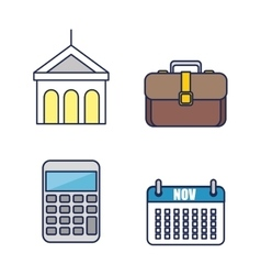 Office work equipment flat icons vector