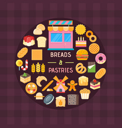 Bread and pastry banner vector