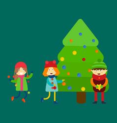 Christmas kids playing winter games skiing cartoon vector