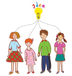 Group of children with idea bulb vector