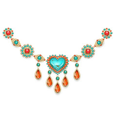 necklace with turquoise heart vector image