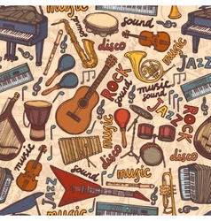 Musical instruments sketch seamless pattern vector image
