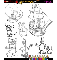 Fantasy cartoon set for coloring book vector